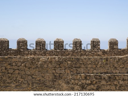 Part of old brick and stone wall / brick wall / fortress