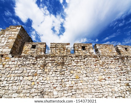 Part of old brick wall ultra wide angle / Kalemegdan fortress, Belgrade, Serbia  - stock photo