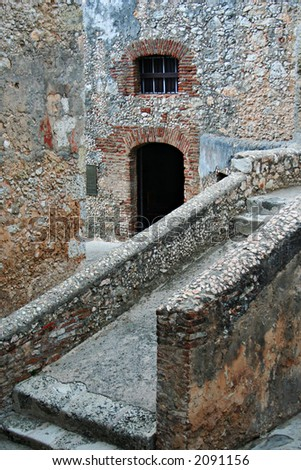 part of old castle - stock photo