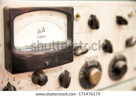 part of old control panel in laboratory - stock photo