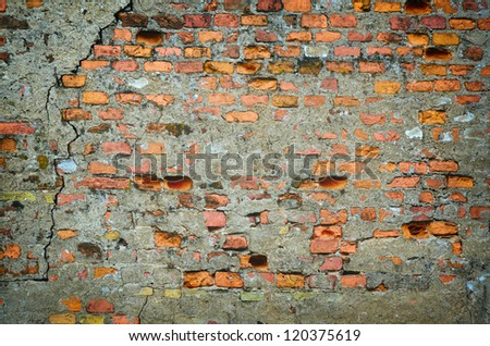 Part Of Old Cracked Wall. Brick Background. - stock photo