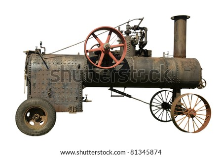part of old steam tractor on a white background - stock photo