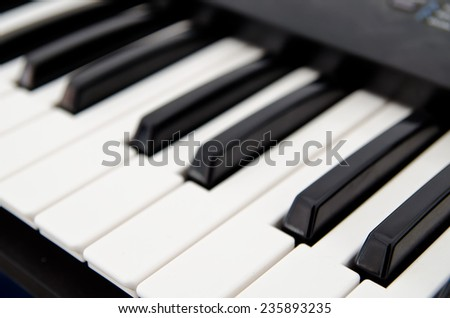 part of piano keyboard closeup - stock photo