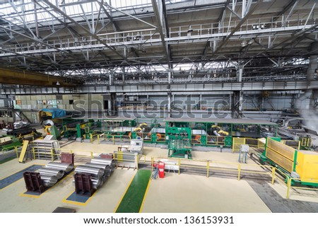 Part of production shop with special equipment for aluminum rolling - stock photo