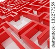Part of red labyrinth, empty space in endless maze - stock photo
