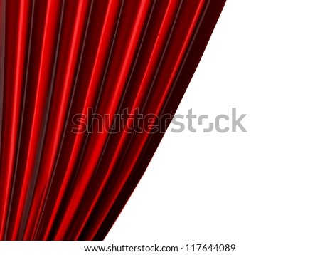 Part of red theatre curtain, isolated on white background. - stock photo