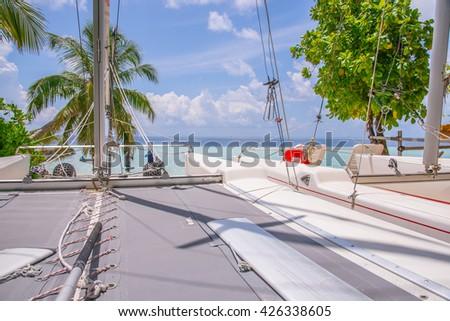 Part of Sailing boat in Maldives Beach Island resort. - stock photo