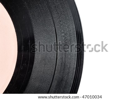 Part of scratched old vinyl record with copy space and selective focus - stock photo