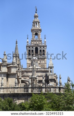 Part of Seville cathedral, Andalusia, Spain - stock photo