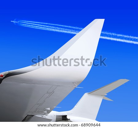 part of small passenger plane that waiting for departure in airport - stock photo