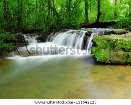 Part of Soi Sawan waterfall. National Park in Pha Taem Ubon Ratchathani Thailand. - stock photo