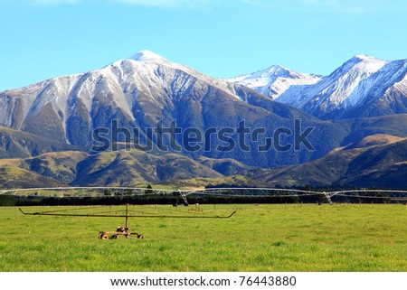 part of southern alps in New Zealand - stock photo