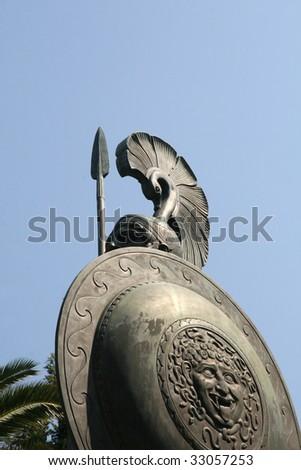 Part of statue of antic Greek hero-Achilles - stock photo
