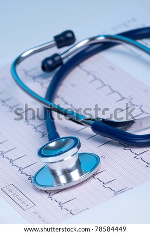 Part of stethoscope and electrocardiogram (ECG)