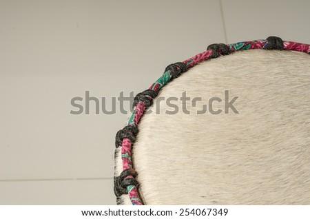 Part of Thai's ancient drum - stock photo