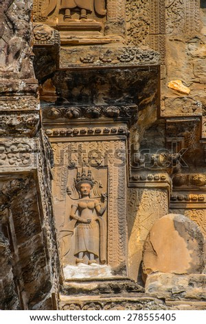 Part of the Angkor Wat (Capital Temple), Khmer temple in Cambodia.