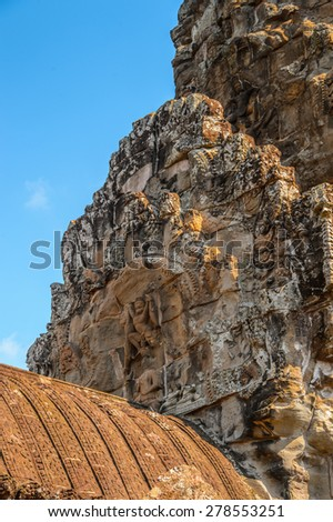 Part of the Angkor Wat (Capital Temple), Khmer temple in Cambodia. UNESCO World Heritage site - stock photo
