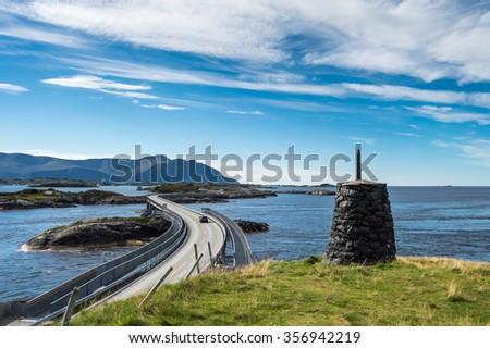 Part of the Atlantic Ocean Road in Norway - stock photo