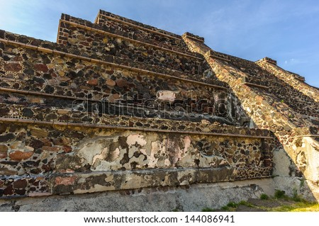 Part of the Avenue of Dead of the Pre-Hispanic City of Teotihuacan, Mexico - stock photo