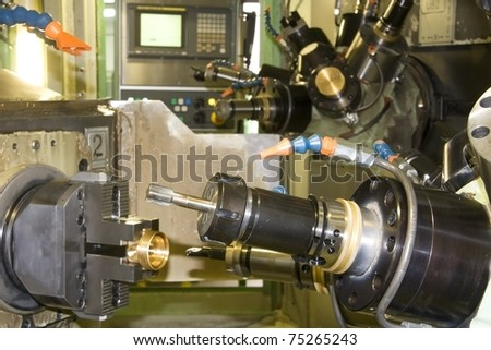 part of the cnc milling machine - stock photo