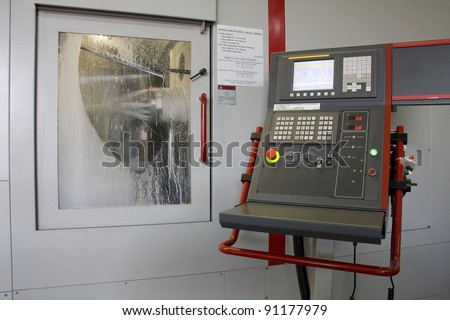 part of the cnc milling machine with control panel