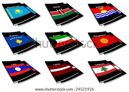 Part of the collection series of flags of the world printed on a paperback books - stock photo