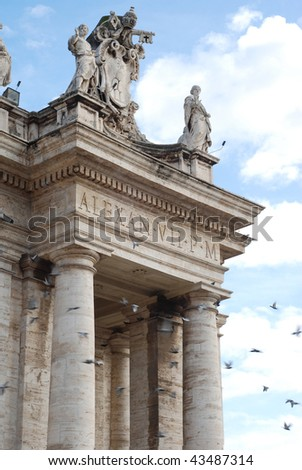 Part of the colonnade of St. Peter at the Vatican with pigeons flying - stock photo