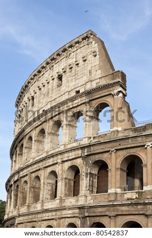 Part of the elliptical amphitheatre in the centre of Rome, the Colosseum, Italy, Southern Europe - stock photo
