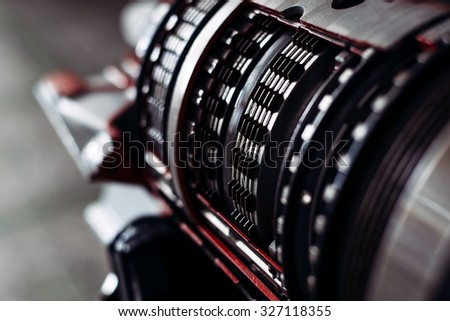 Part of the engine block of the vehicle. Transmission - stock photo