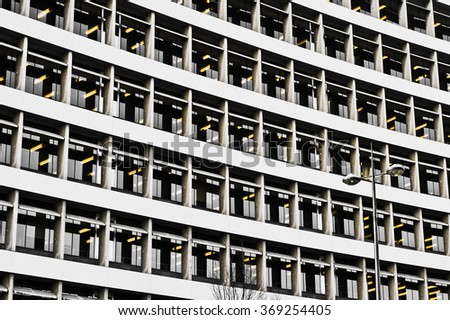 Part of the exterior of a multi-storey office buidling in the UK, as a background - stock photo