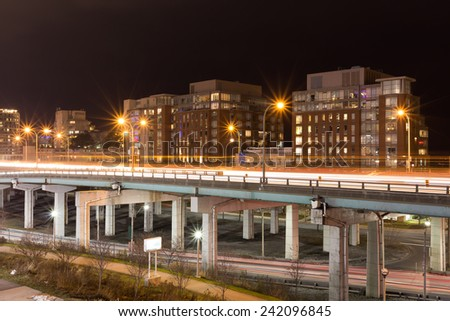 Part of the Gardiner Expressway in Toronto which is an elevated Highway - stock photo
