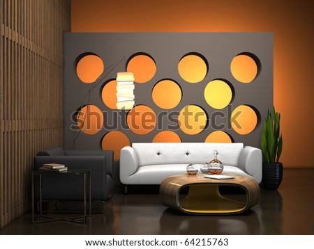 Part of the interior with modern table 3D rendering - stock photo