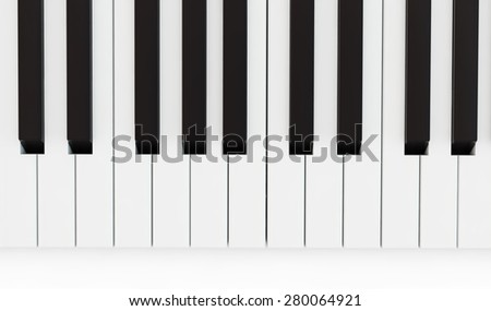 part of the keyboard of a piano, close up top view - stock photo
