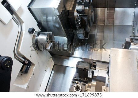 Part of the lathe - stock photo