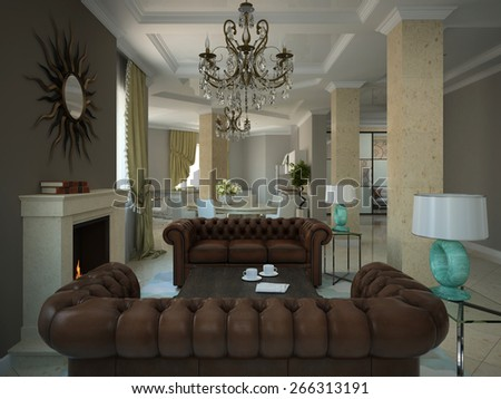 Part of the living-room in the modern country-house 3D - stock photo