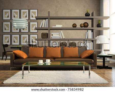 Part of the modern apartment 3D rendering - stock photo