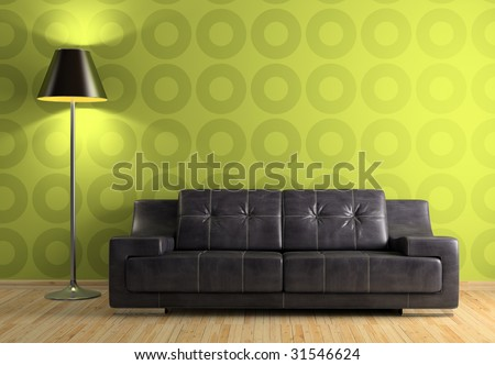 Part of the modern interior with sofa and lamp 3D rendering - stock photo