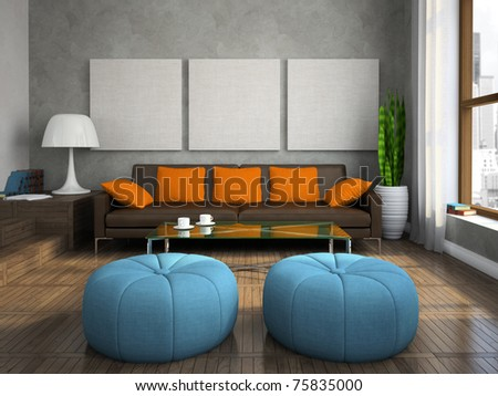 Part of the modern living-room with blue ottomans 3D rendering - stock photo
