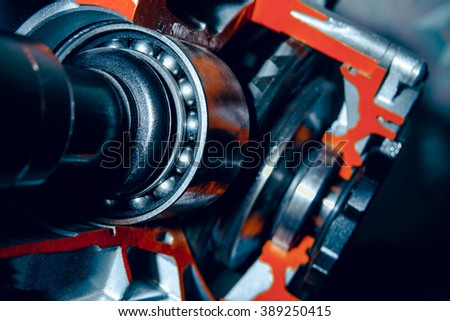 Part of the motor of the car. Large bearings - stock photo