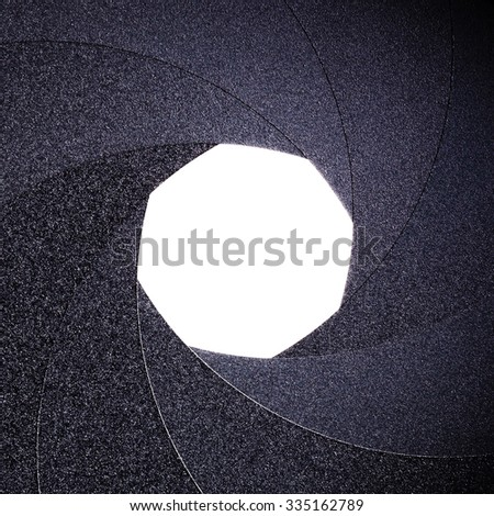 part of the objective - an open aperture - stock photo