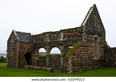 Part of the Old Abbey on Iona Isle, Scotland