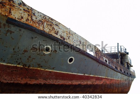 Part of the old rusty ship isolated on white - stock photo