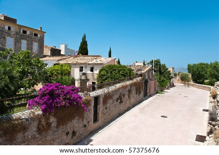 Part of the old town in Alcudia in Spain - stock photo