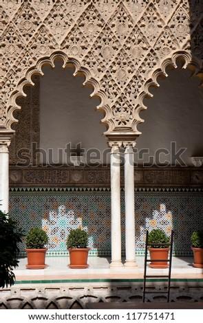 Part of the patio de las Doncellas, Real Alcazar, Seville, Spain. - stock photo