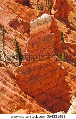 Part of the red rock outcrops (Hoodoo's) in Cedar Brakes National Park in Utah - stock photo