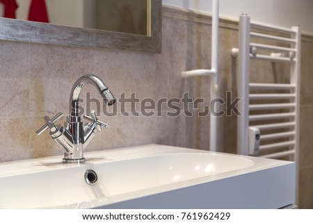 part of the renovated bathroom  washbasin  tap and radiator. Washbasin Stock Images  Royalty Free Images   Vectors   Shutterstock