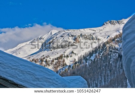 Part of the ski slopes of Val d'Isère seen from the old village