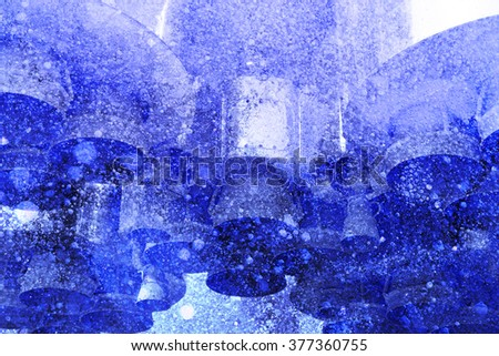 Part of the space ship (rocket engine) on the background of frozen blue ice (double exposure)  - stock photo