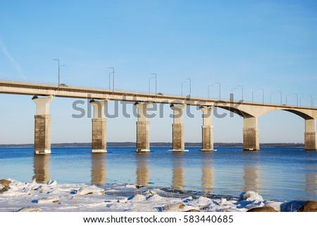 Part of the Swedish Oland bridge in the Baltic Sea, one of the longest bridges in Europe. The bridge is connecting the island Oland with mainland Sweden