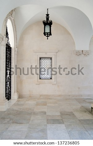 Part of the terrace in an old castle with a lantern. Livadia Palace - stock photo